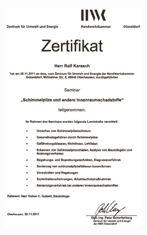 Zertifikat schimmelbeseitigung ralf