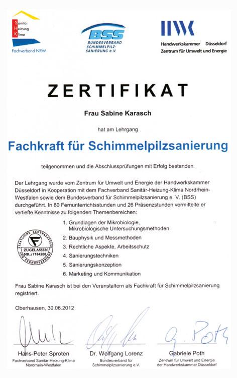 Zertifikat schimmelbeseitigung sabine